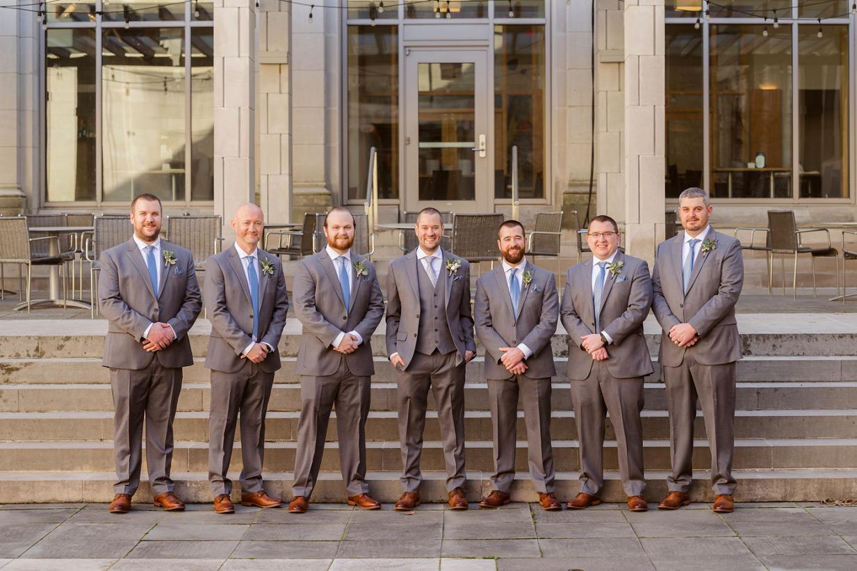 Groomsmen In Men's Warehouse Suits