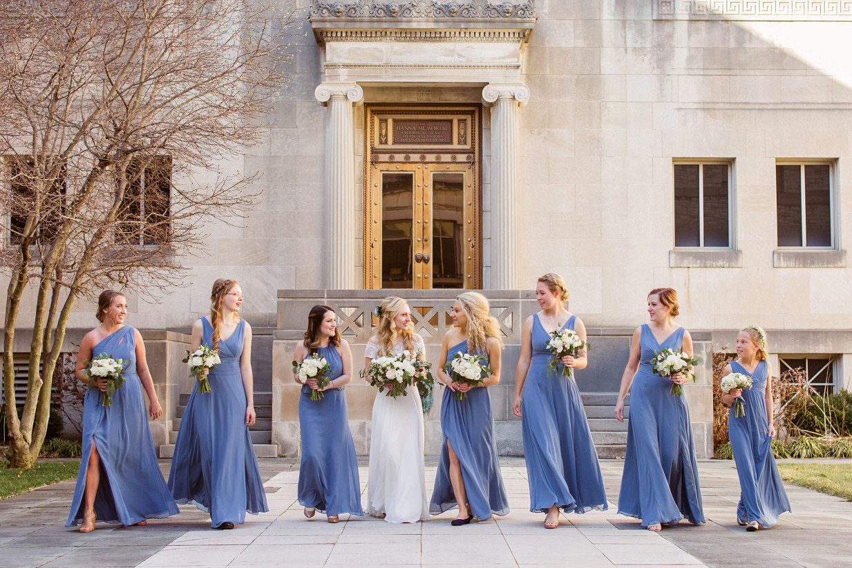 Bride's Maids In Steal Blue dresses