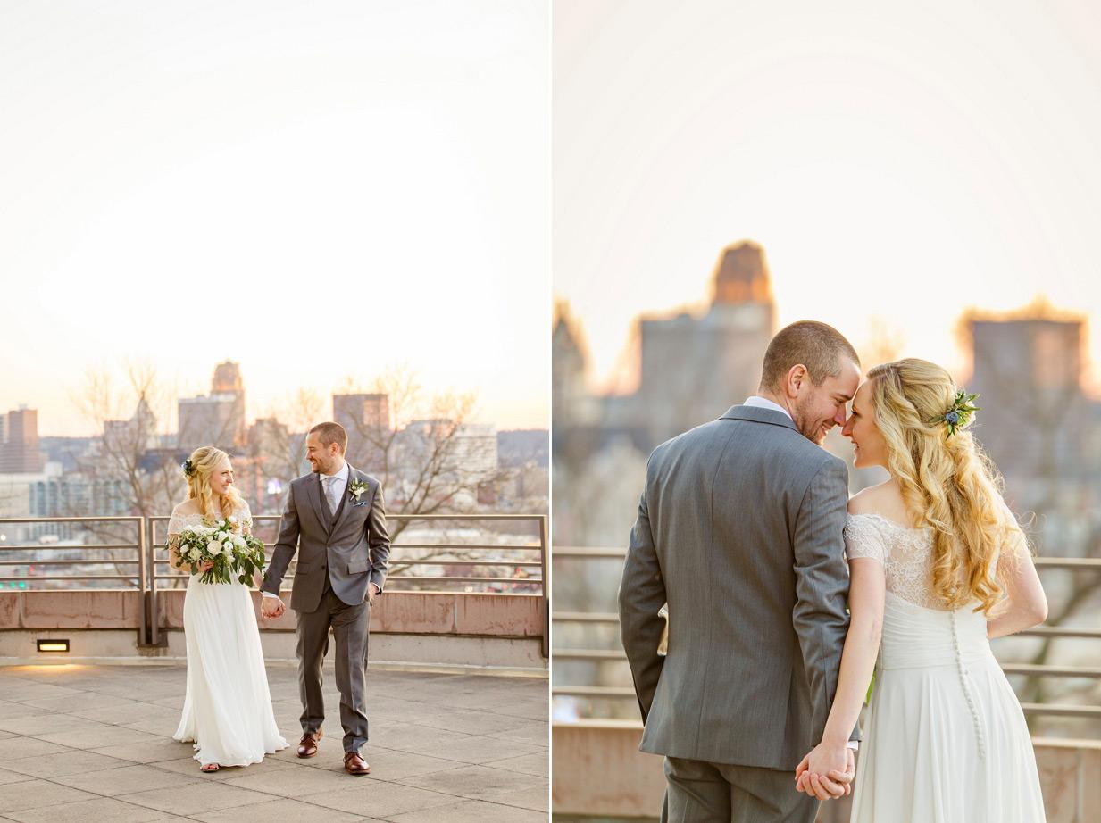 Cincinnati Skyline at Sunset with Bride and Groom
