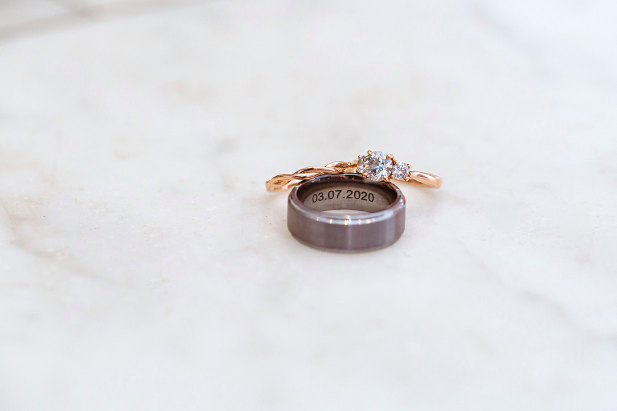 date inscribed in grooms wedding band