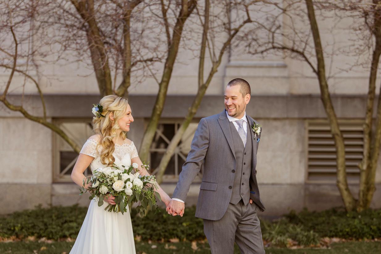 Bride and Groom walking Cincinnati Wedding