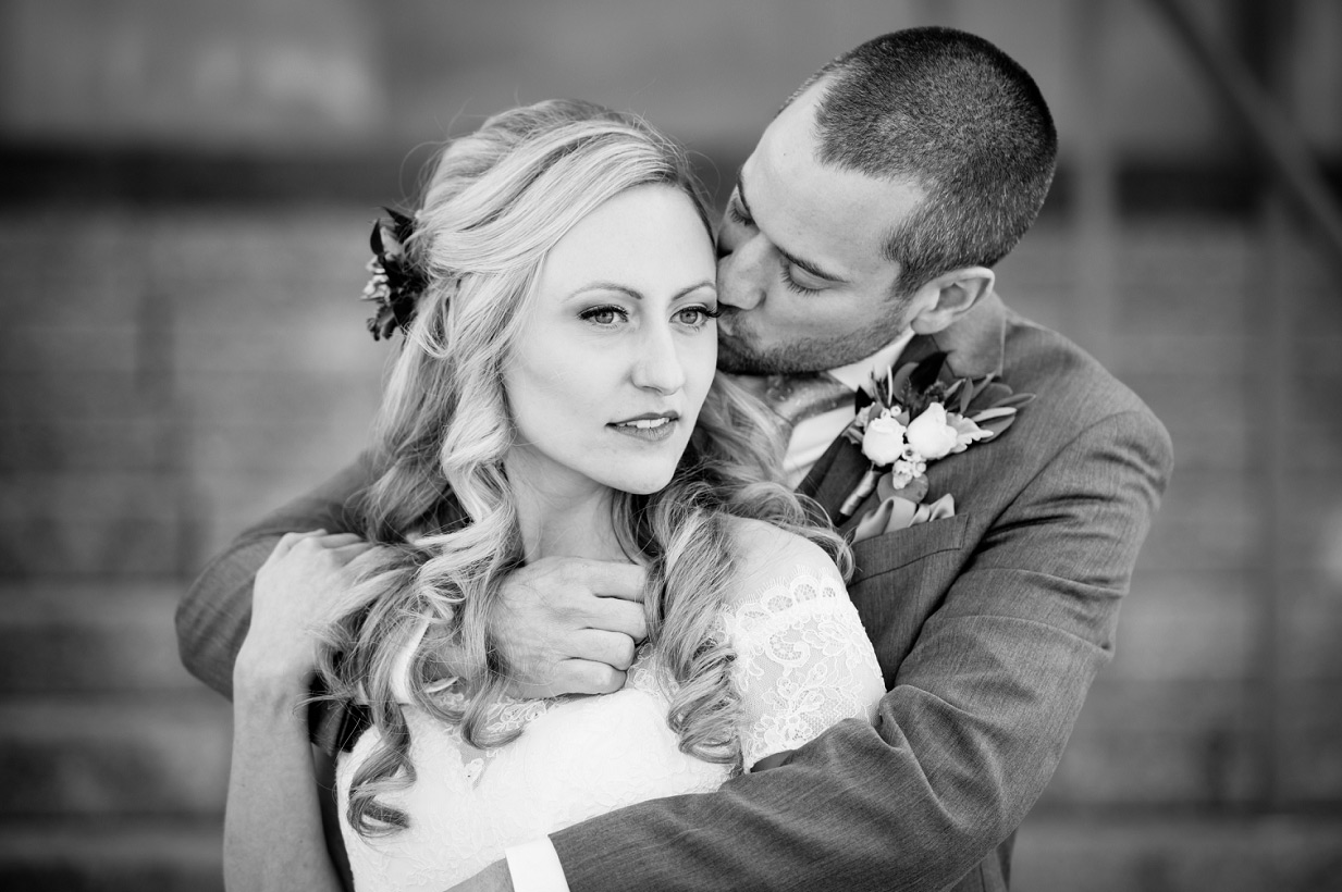 Black and White of Bride and Groom in Cincinnati Wedding