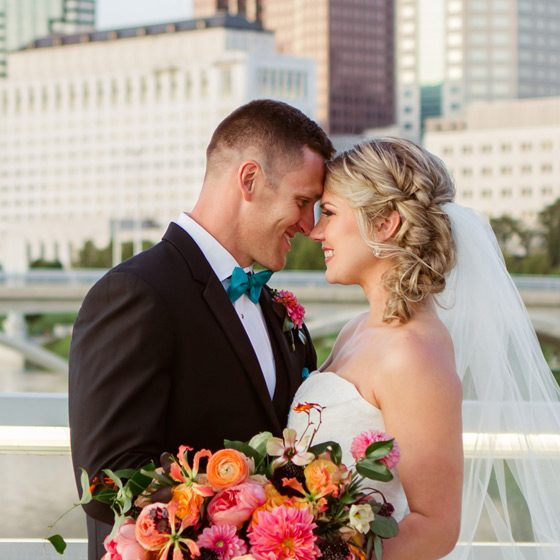 Bride and Groom and Columbus OH Skyline
